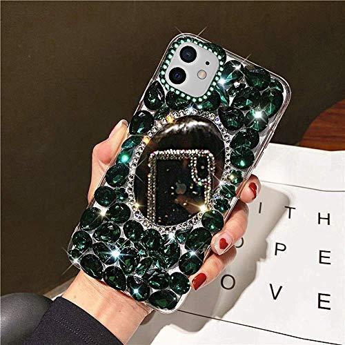 NSSTAR - Carcasa para iPhone 12 Pro con efecto espejo para niña, con lentejuelas brillantes, ultra fina, ligera, de silicona y poliuretano termoplástico, color verde
