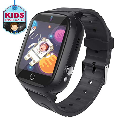 MeritSoar Kids Smart Watch Phone with GPS Tracker Smartwatch Voice Chat HD Touch Screen Camera Waterproof Kids Phone Watch Compatible with Android iOS for Boys Girls (Black)