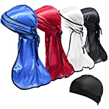 4 Pcs Silky Durags with Wave Cap, Premium Soft Satin Headwraps Classic Do-Rag with Long Tail for 360 Waves