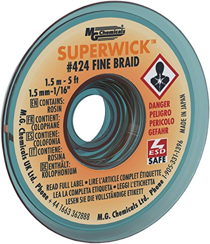 MG Chemicals Desoldering Braid #2 Fine Braid Super Wick with RMA Flux, 5' Length x 0.05