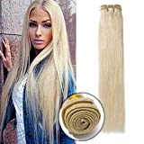 7A Virgin Human Hair Sew in Bundle Extensions 1 Bundle 18 Inch #60 Platinum Blonde Straight Unprocessed Brazilian Hair Weft for Women Long Hair Weave 100g/Bundle