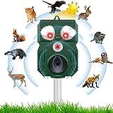 Ultrasonico Repelente para Gatos Jardin, Ahuyentador de Gatos con LED & Carga Solar & Sensor & Luz Intermitente & IP64 Resistente al Agua, para Alejar Ratones, Perros, Aves, Zorros