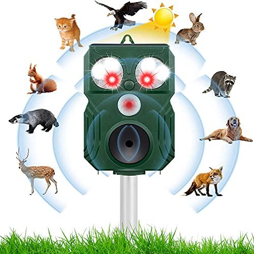 Dissuasori per Gatti, Dissuasore Ultrasuoni per Piccioni & Gatti con Sensore PIR a LED per Allontanare Topi, Cani, Uccelli, Volpe, Utile per Fattoria, Giardino, Prato, Cortile, IP64 Impermeabile