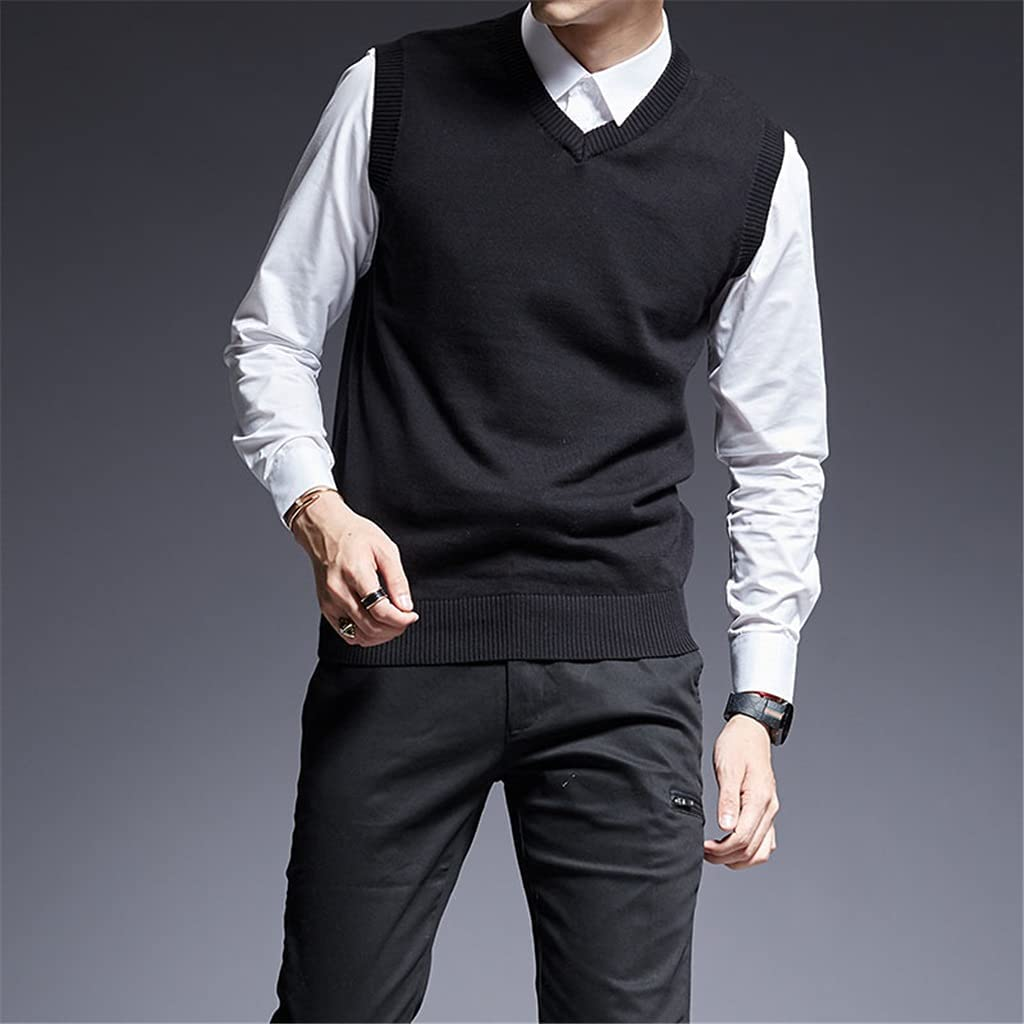 PDGJG Sweater for Mens Pullovers Sleeveles Slim Fit Jumpers Knit Thick Autumn Casual Men Clothes (Color : Black, Size : XXXL)