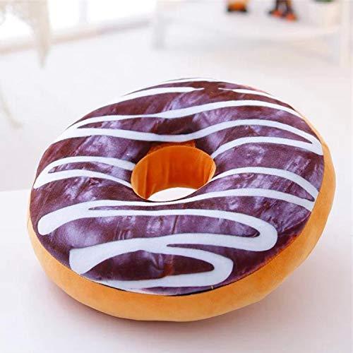 Adkwse Donut Soft Cojín de chocolate de peluche, cojín decorativo extra grueso y mullido, cojín decorativo, decoración (color chocolate)