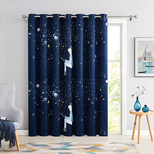 """100% Blackout Window Door Curtain 100 Inch Extra Wide for Kids Bedroom Sliding Patio Door, Star Planet Universe Theme Printed Thermal Insulated Grommet Top 84"""" Length Navy Blue Drape, 1 Panel"""