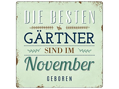 Interluxe 20x20 cm METALLSCHILD Türschild DIE BESTEN GÄRTNER November Garten Hobby Beruf Geschenkidee