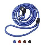 Q4Pets Adiestramiento de Perros Plomo/Correa para Perros Pequeños y Medianos. 1.3M. Cuerda y Collar de Deslizamiento de Cuerda Fuerte, Detener el Entrenamiento de Tiro (Azul)