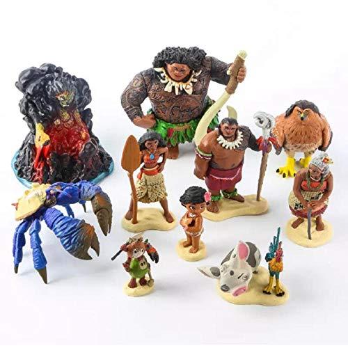 GSDGSD 10 Uds Dibujos Animados Moana Princesa Leyenda Vaiana Maui Jefe Tui Tala Heihei Pua Figura de acción decoración Juguetes para niños Regalo de cumpleaños