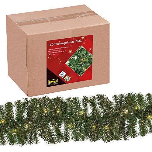 Idena 31854 LED Tannengirlande mit 160 LED warm weiß, mit 8 Stunden Timer Funktion, für Advent, Weihnachten, Deko, als Stimmungslicht, ca. 25 cm x 10 m