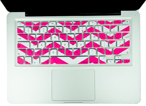 Kuzy - EU/UK PINK Chevron Zig-Zag Keyboard Cover for MacBook Pro 13' 15' 17' (with or w/out Retina Display) iMac and MacBook Air 13' (European/ISO Keyboard Layout) Silicone Skin - PINK Chevron