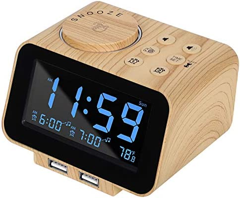 USCCE Digital Alarm Clock Radio 0 100 Dimmer Dual Alarm with Weekday Weekend Mode 6 Sounds Adjustable product image