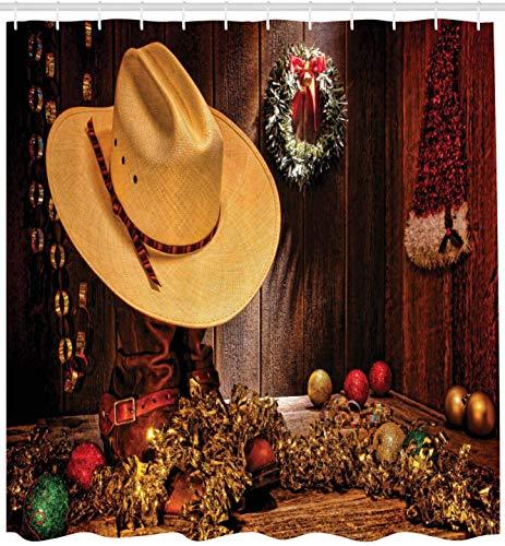 AFDSJJDK Cortinas Opacas 2 Piezas Casa de Campo con Celebraciones navideñas con Corona a Estilo I Print Set de decoración de baño