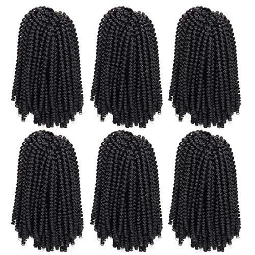 6 Packs Spring Twist Braiding Hair Spring Twists Bomb Twist Hair Synthetic Fiber Fluffy Twist Crochet Braids Low Temperature Twist Crochet Hair for Black Women Braiding Hair(8inch,1B)
