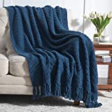 Bedsure Navy Blue Throw Blanket for Couch, Knit Woven Chenille Blanket for Chair, 50 x 60 Inch - Super Soft Warm Decorative Blanket with Tassels for Bed, Sofa and Living Room