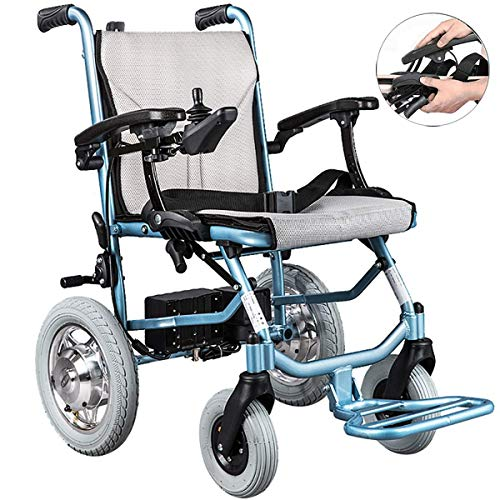 XWC Lightweight Folding Carry Electric Wheelchairs Double Control Lite Aluminium Foldable Ultra Light Elderly Smart Lightweight Scooter,Dualcontrol gh/Dual Control
