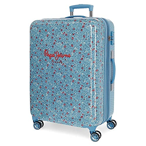 Pepe Jeans AVA Maleta Mediana Azul 48x68x26 cms ABS Cierre TSA 70 L 3,7 kgs4 Ruedas Dobles