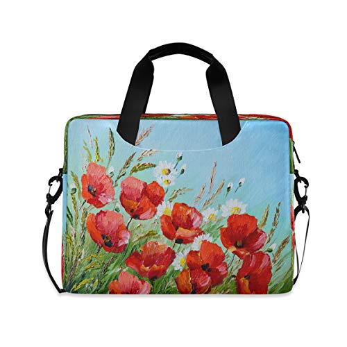 ALARGE Laptop Case Sleeve Abstract Watercolor Poppy Paint 15-16 inch Briefcase Travel Tote Messenger Notebook Computer Crossbody Bag with Strap Handle for Women Men
