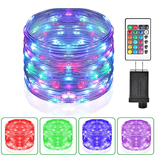 HAHOME 33Ft 100LEDs Color Changing Outdoor String Lights,Thin Rope Waterproof Fairy Lights,Multi-Colored