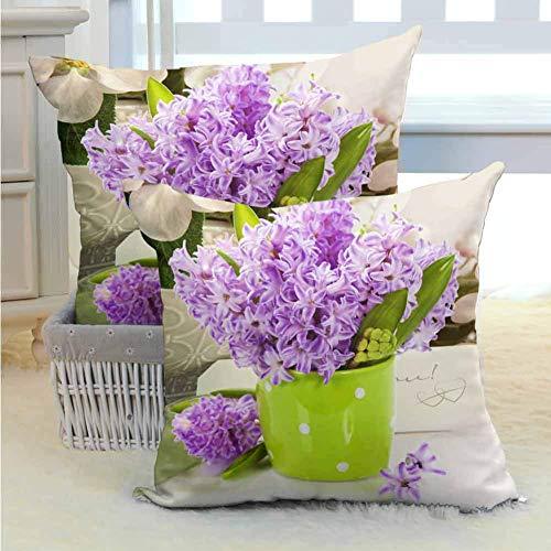koniqiwa Polyesterative Kissen Bedecken schöne Hyazinthen in der Vase über Weiß Verschiedene Druck-Modemuster Stuhl Auto