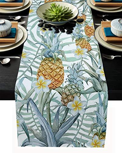 FAMILYDECOR Camino de mesa de arpillera de lino para mesas de comedor, 33 x 228 cm, piña fresca tropical y frangipani Corredores de mesa para fiestas de vacaciones, cocina, decoración de boda