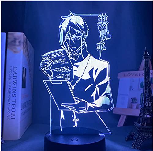 Anime Luz Negro Mayordomo Led Luz de Noche para Dormitorio Decoración Colorida Nightlight Anime Regalo 3D Lámpara Negro Mayordomo