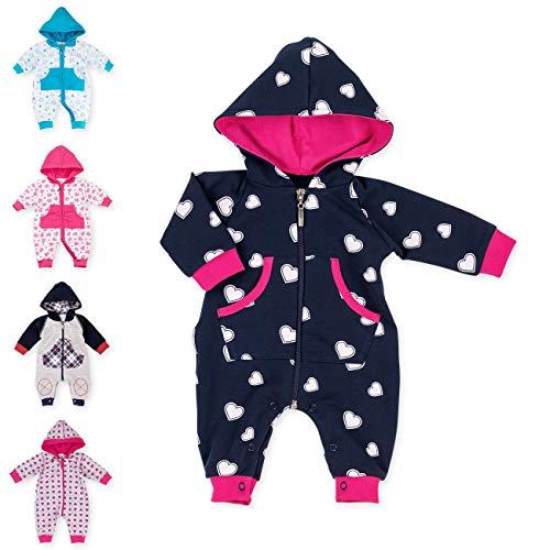 Baby Sweets Baby Overall Jumpsuit mit Kapuze für Mädchen in Pink Weiß Schwarzblau im Herz-Motiv/Babystrampler als Overall für Baby und Kleinkind für Outdoor und Indoor in Größe: 1 Monat (56)