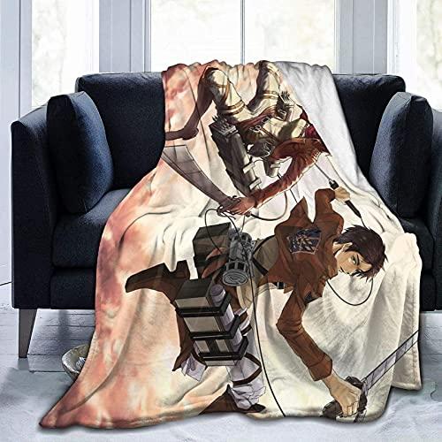 Attack on Titan morbida coperta sfocata multipla soffice coperta in flanella anti-pilling, coperta per divano o divano inverno biancheria da letto casa riscaldamento decorazione 150 cm x 150 cm
