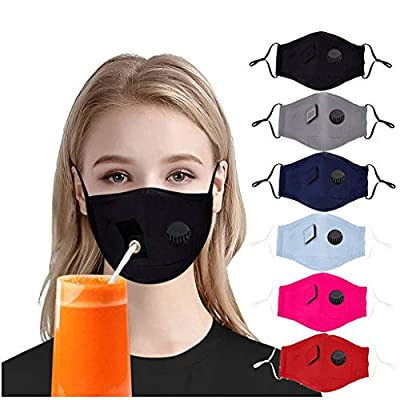 7 Days Fast Shipment 6 PCS Adults_Face_Mask_Cover Drinking Face Bandanas with Hole for Straw Fabric Scarf Breathable Reusable Washable for Outdoor