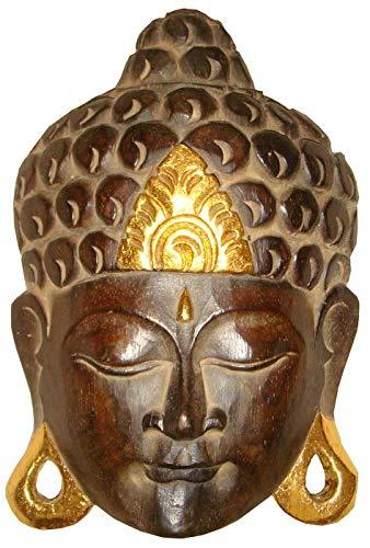 Woru Buddha - Maske Gold, handgearbeitete Holz-Maske aus Bali, Wandmaske, Grösse:35 cm