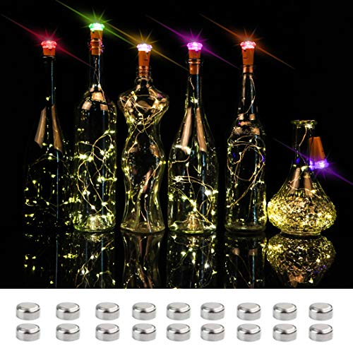 Wine Bottle Lights Cork Color Changing,16 LED on 4.6FT Copper Wire Battery Operated Cork Fairy String Lights for DIY Party Decoration Wedding Holiday Christmas Pack of 6