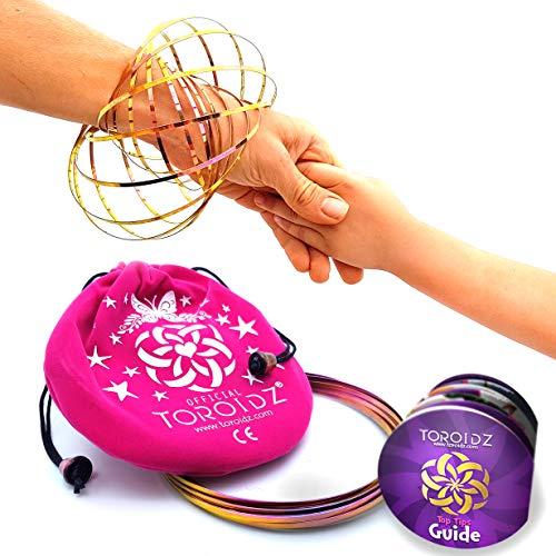Toroidz  Flow Ring + Samtbeutel - Wunderbares Magisches Spielzeug - 3D ARM Slinky - Wissenschaft, Zirkus, Magic Anti Stress Toy - Alle Altersgruppen (Rosa & Gold (Rosa Tasche))