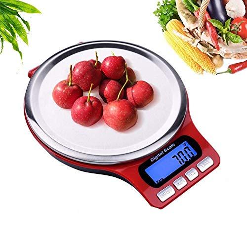 QNSZBD Báscula Digital para Cocina de Acero Inoxidable, 5kg/11 lbs Bascula Comida de Precisión, Balanza de Alimento Multifuncional, Peso de Cocina con LCD Retroiluminación