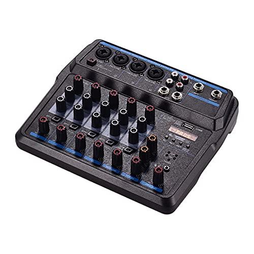 Mesa de Mezclas 6 Canales Mezcladores de Audio BT USB Consola de Mezcla con Tarjeta de Sonido 48V Phantom Power para Transmisión en Vivo (Color : Black, Size : One Size)