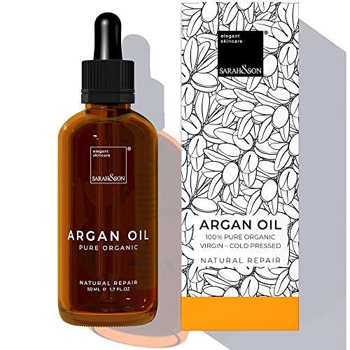 Sarah&Son reines Bio Arganöl kaltgepresst für Gesicht, Haut und Haar aus Marokko 50ml vegane...