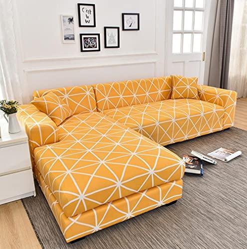 Fundas para Sofa Tela Escocesa Blanca Naranja Cubre Sofa Spandex Estampadas Fundas Sofa Elasticas Universal Espesasfunda Sillon Verano Modernas Fundas para Sofa Chaise Longue 1 Plaza