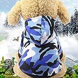 Abcsea 1 Pieza Color de Camuflaje Sudaderas con Capucha para Perros, Ropa para Perros, Ropa para Mascotas, Ropa de Invierno para Mascotas, Ropa de Abrigo para Mascotas, Azul S Talla