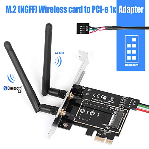 MZHOU PCI-E M.2/NGFF Card, M.2 NGFF to PCI-E 1X Desktop WiFi WLAN Adapter Network Card Converter for 8260 7265 1535 7260 with Dual-Band 2.4/5G Antenna Support NIC