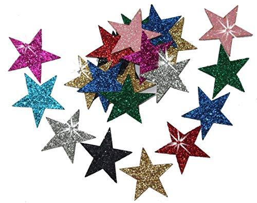 Juego de 48 parches para planchar en la ropa, 25 mm, acabado brillante, diseño de estrella, de CrystalsRus