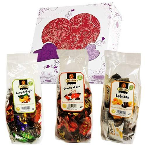 LAPASION - Cestas y regalos. Cesta mixta con Frutas de Aragón, Guindas al licor y Gajos de Naranja confitada con chocolate.