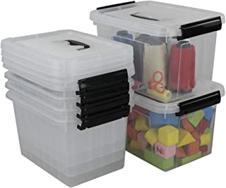 Idomy Plastic Storage Box, Clear Storage Bins with Lid, Pack of 6 (6 Quart)