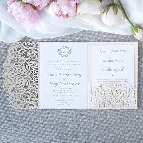 50 komplette Einladungen mit Umschlägen! Mach es selbst! Lasergeschnittene Hochzeit Einladungskarten DIY- Pfirsich Spitze - Hochzeitskartenn + Kuvert + unabhängiges Drucken