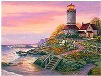 大人のための数字によるDIYペイント初心者用ブラシ付きキャンバス抽象芸術アクリルリビング家と灯台