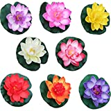 8 Piezas Flores Flotantes, Decoración de Estanque Flotante, Planta de Lirio de Agua, para Uso en Piscinas, Acuarios, Escenas de Arroyos (8 Colores)