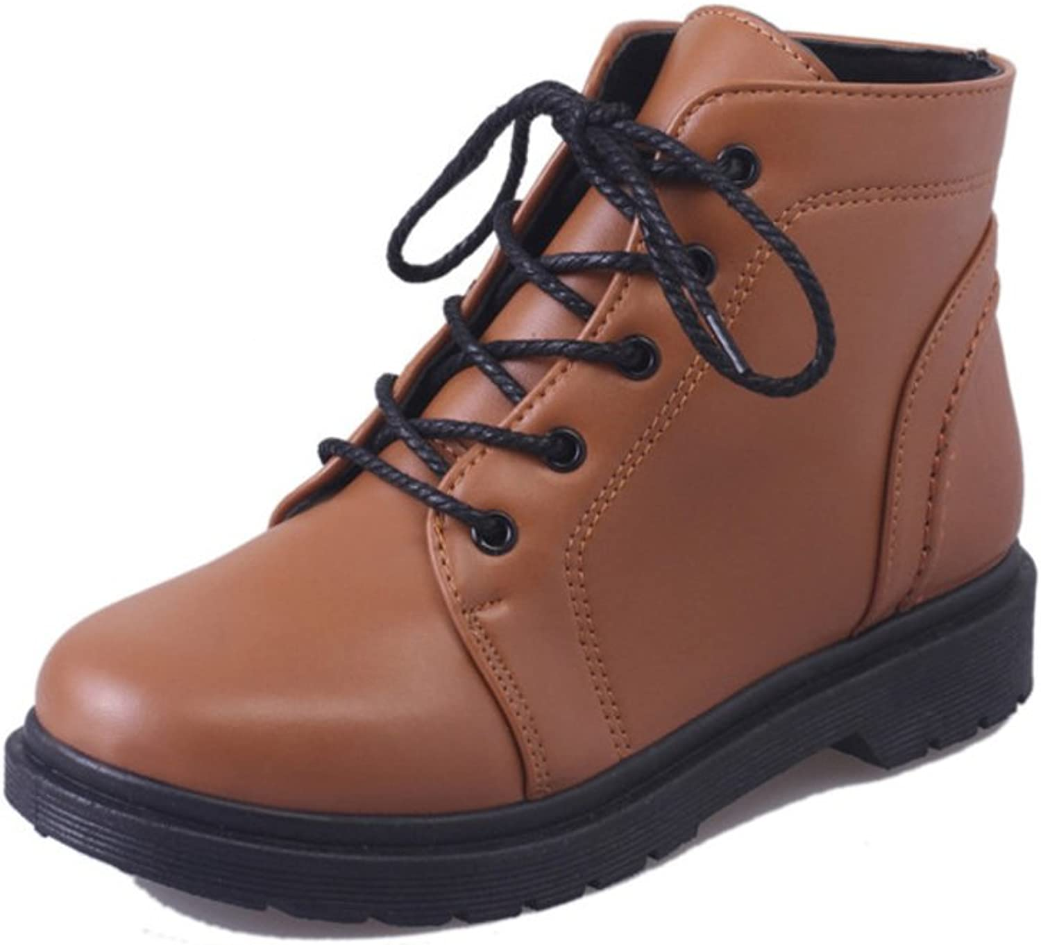 Huhuj Europe England Wind Boots Retro Front Strap Flat Boots Martin Boots and Cotton
