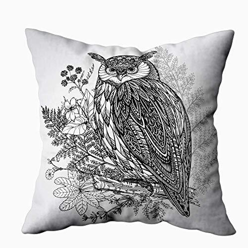 Funda de almohada para el hogar, 50,8 x 50,8 cm, diseño de búho, con diseño de búho en acuarela y decoración de fondo, fundas de almohada con cremallera para sofá cama