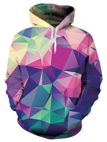Idgreatim Collage 3D Cool Diamond Pullover Sweatshirt Hoodie Novelty Fashion Outwear