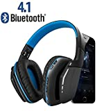 Wireless Gaming Headset, Weton V4.1 Bluetooth Overhead Headphones Built-in Microphone Noise Cancelling Headset for All iOS&Android Smartphones Computers(Blue)