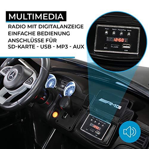 Actionbikes Motors Kinder Elektroauto Mercedes GLS63 Allrad Leder Sitz Kinderfahrzeug Kinderauto 45 Watt 2 Sitzer (Schwarz) - 5