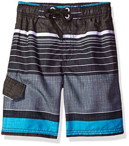 Kanu Surf Boys' Big Quick Dry UPF 50+ Beach Swim Trunk, Viper Black, 10/12